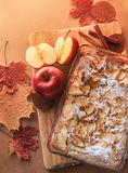 Delicious apple pie on a wooden board Royalty Free Stock Photos