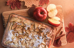 Delicious apple pie on a wooden board Stock Image