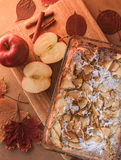 Delicious apple pie on a wooden board royalty free stock photography