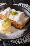 Delicious apple strudel with sugar powder, ice cream and mint cl. Oseup on a plate. vertical Royalty Free Stock Photos