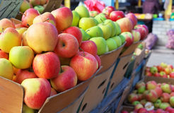Delicious apples in the boxes on the market Royalty Free Stock Photography