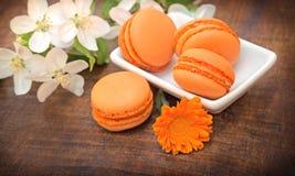 Delicious apricot cakes (macaroon - macaron) Royalty Free Stock Photography