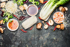 Delicious asian cooking ingredients for Thai or Chinese cuisine . Stock Photos