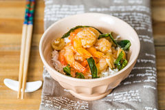 Delicious asian fried shrimp and rice Stock Image