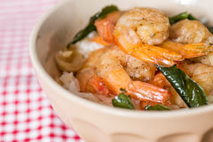 Delicious asian fried shrimp and rice Royalty Free Stock Photography