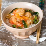 Delicious asian fried shrimp and rice Royalty Free Stock Image