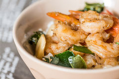 Delicious asian fried shrimp and rice Royalty Free Stock Images