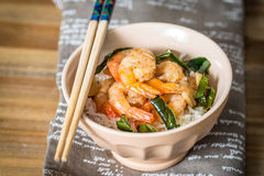 Delicious asian fried shrimp and rice Royalty Free Stock Photos