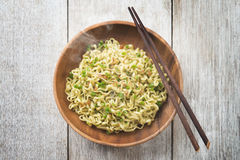 Delicious Asian Japanese dried ramen noodles top view Stock Photos