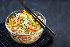 Delicious asian rice glass noodles with vegetables wok Stock Images
