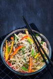Delicious asian rice glass noodles with vegetables wok Stock Photography
