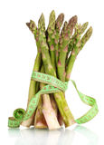 Delicious asparagus and measuring tape royalty free stock photography