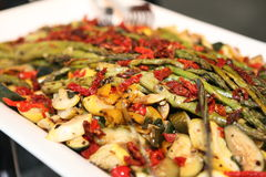 Delicious asparagus salad. On a tray Royalty Free Stock Photography