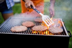 Delicious assorted grilled meat with vegetables over the coals on barbecue. Delicious grilled meat with vegetables over the coals on barbecue stock images