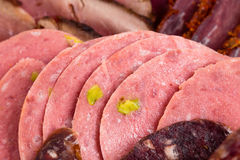 Delicious assorted meat platter closeup. Royalty Free Stock Photos
