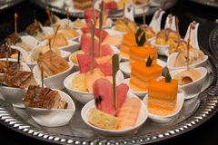 Free Delicious Assorted Mini Food Standing Cocktai Banquet Royalty Free Stock Photography - 75748387