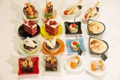 Assorted mini food standing cocktai banquet Stock Photo