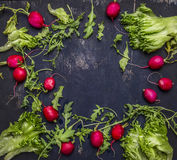Delicious assortment of farm fresh vegetables  place text,frame top view Royalty Free Stock Photo