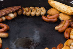 Delicious assortment of grilled sausages Stock Photo