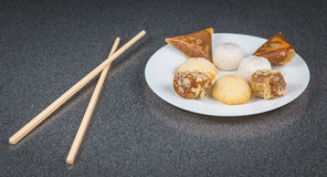 Delicious assortment of homemade Asian pastries. Samosas with a Stock Photo