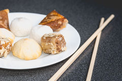 Delicious assortment of homemade Asian pastries. Samosas with a Royalty Free Stock Images