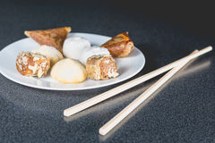 Delicious assortment of homemade Asian pastries. Samosas with a Royalty Free Stock Photography