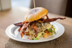 Delicious Bacon Burger On Plate Stock Images
