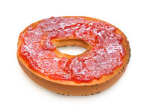 Delicious bagel with strawberry jam Stock Photo