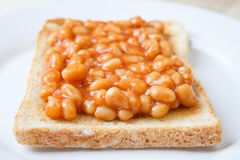 Delicious baked beans on toast Royalty Free Stock Photos