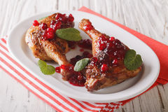 Delicious baked duck leg with cranberry sauce and mint closeup. Royalty Free Stock Photos