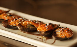 Delicious baked mussles Royalty Free Stock Photo