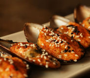 Delicious baked mussles Royalty Free Stock Photography