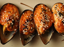 Delicious baked mussles Royalty Free Stock Image