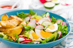 Delicious baked potato, boiled egg and fresh vegetable salad of lettuce, cucumber and radish. Summer menu for detox diet. Top view royalty free stock photo