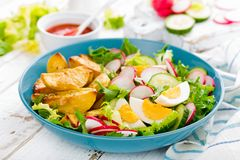 Delicious baked potato, boiled egg and fresh vegetable salad of lettuce, cucumber and radish. Summer menu for detox diet. Top view. Delicious baked potato stock images