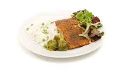 Delicious baked salmon meal Royalty Free Stock Photo