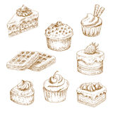 Delicious bakery and pastries sketches Royalty Free Stock Images