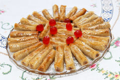 Delicious Baklava on the plate, oriental dessert Stock Photos
