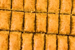 Delicious baklawa texture - pastry shop. Sweet baklawas on tray. its traditional turkish dessert Royalty Free Stock Image
