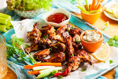 Delicious barbecue chicken wings Stock Photos