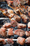 A delicious barbecue on the grill. royalty free stock photography