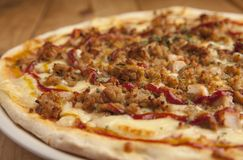 Delicious barbecue pizza close up royalty free stock photos