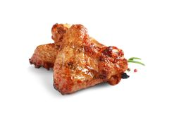 Delicious barbecued chicken wings stock image