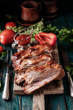 Delicious barbecued ribs seasoned with a spicy basting sauce Royalty Free Stock Photography