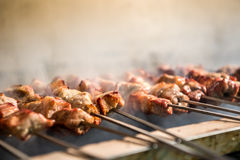 Delicious barbecued souvlaki royalty free stock photos