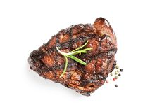 Delicious barbecued steak with rosemary on white background. Top view stock photos