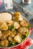 Delicious Battered Fried Pickles Stock Photo