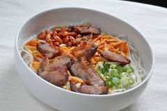 Delicious BBQ pork noodles Stock Image