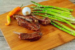 Delicious BBQ ribs with toasted bread, cole slaw and a tangy BBQ sauce. Pork ribs asparagus pepper stock images