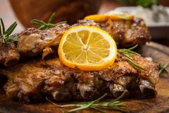BBQ spare ribs with herbs Royalty Free Stock Photo